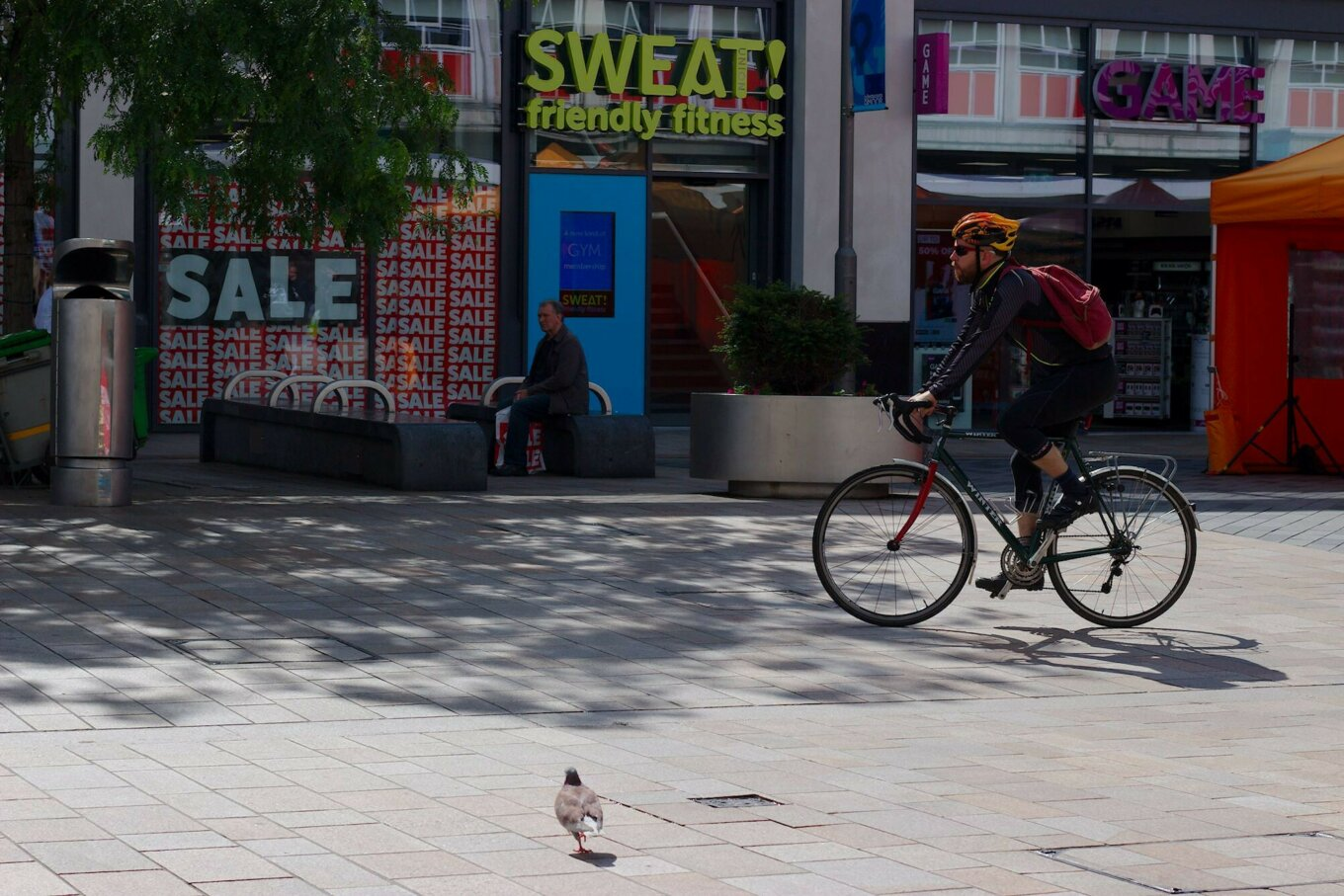 A cyclist in a pedestrianised space on The Moor in Sheffield
