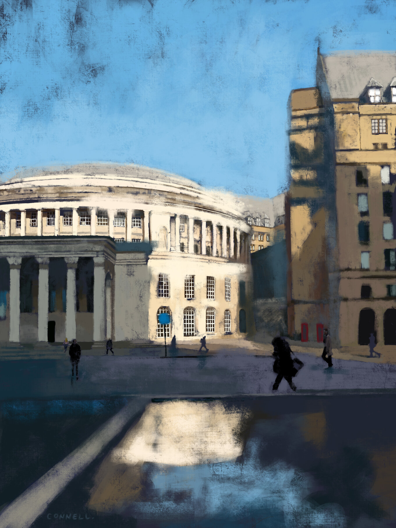 Central Library Reflections Digital Painting