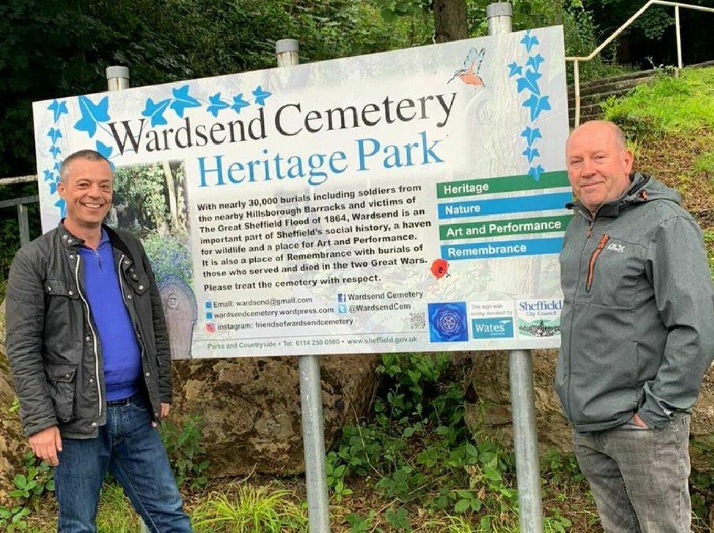 Cllr Bob Johnson Howard Bailey at Wardsend Cemetery