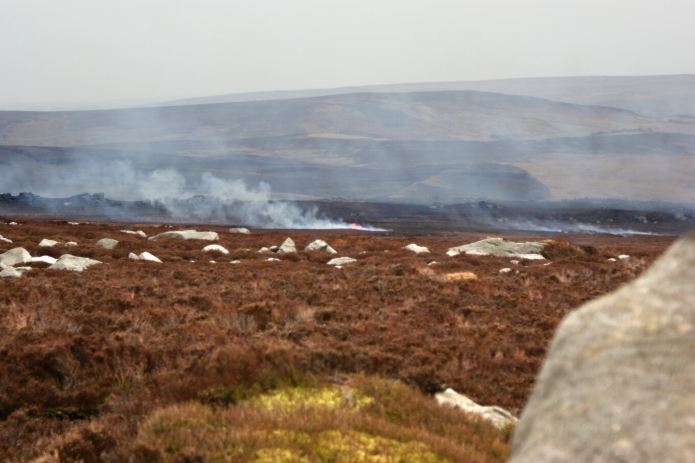 Heather burning on Barden Moor geograph org uk 1762004