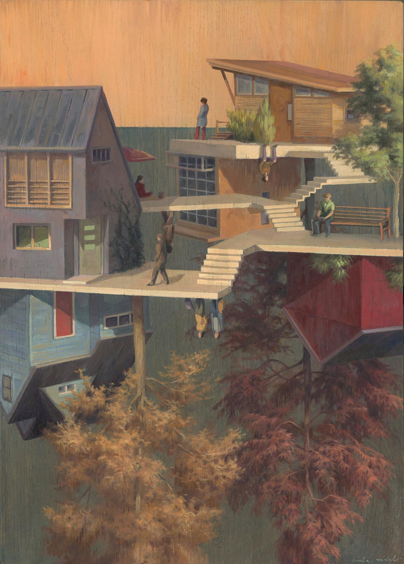 Santa Monica 36x50cm Oilon Wood Beinart Gallery July2019