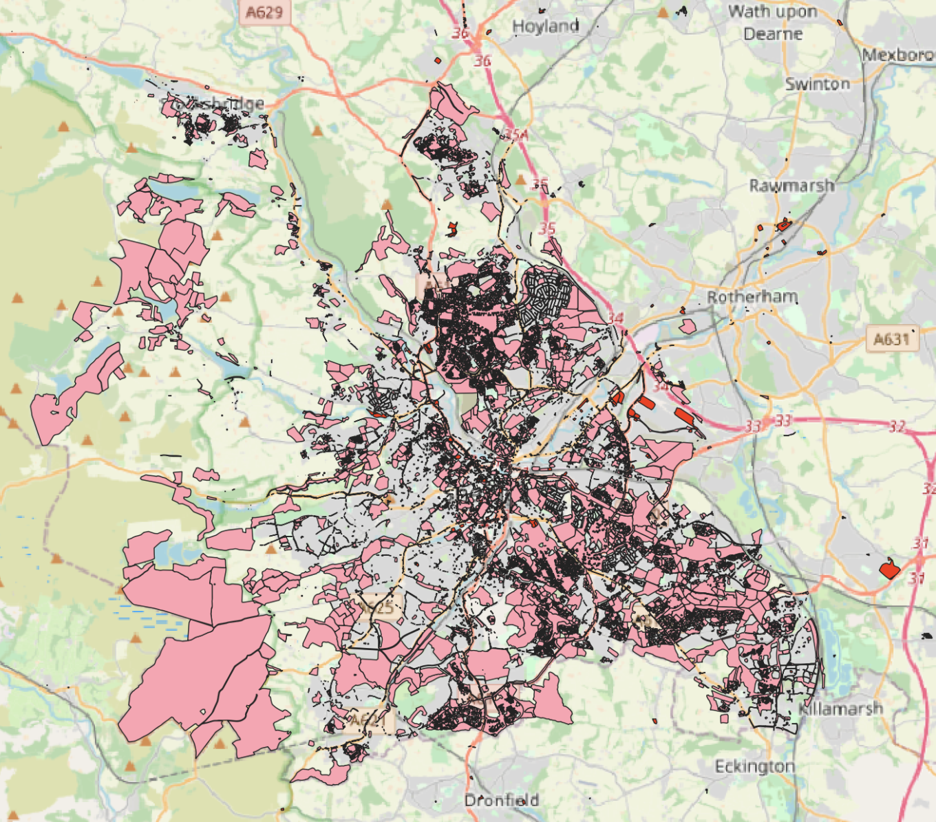 Sheffield Council land ownership map