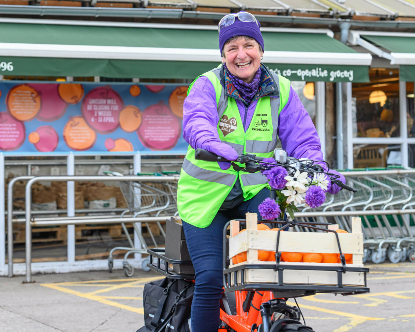 Glynis on one of the Chorlton Bike Deliveries cargo bikes