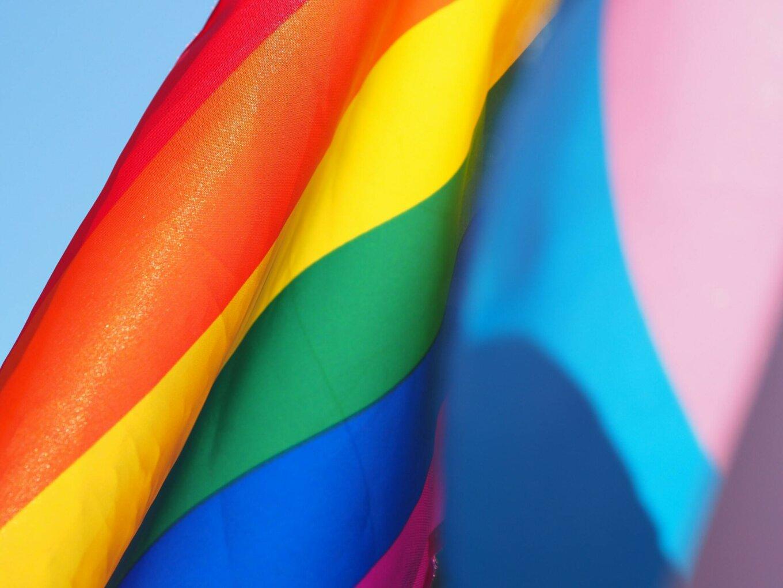 A close-up photograph of the progress pride flag