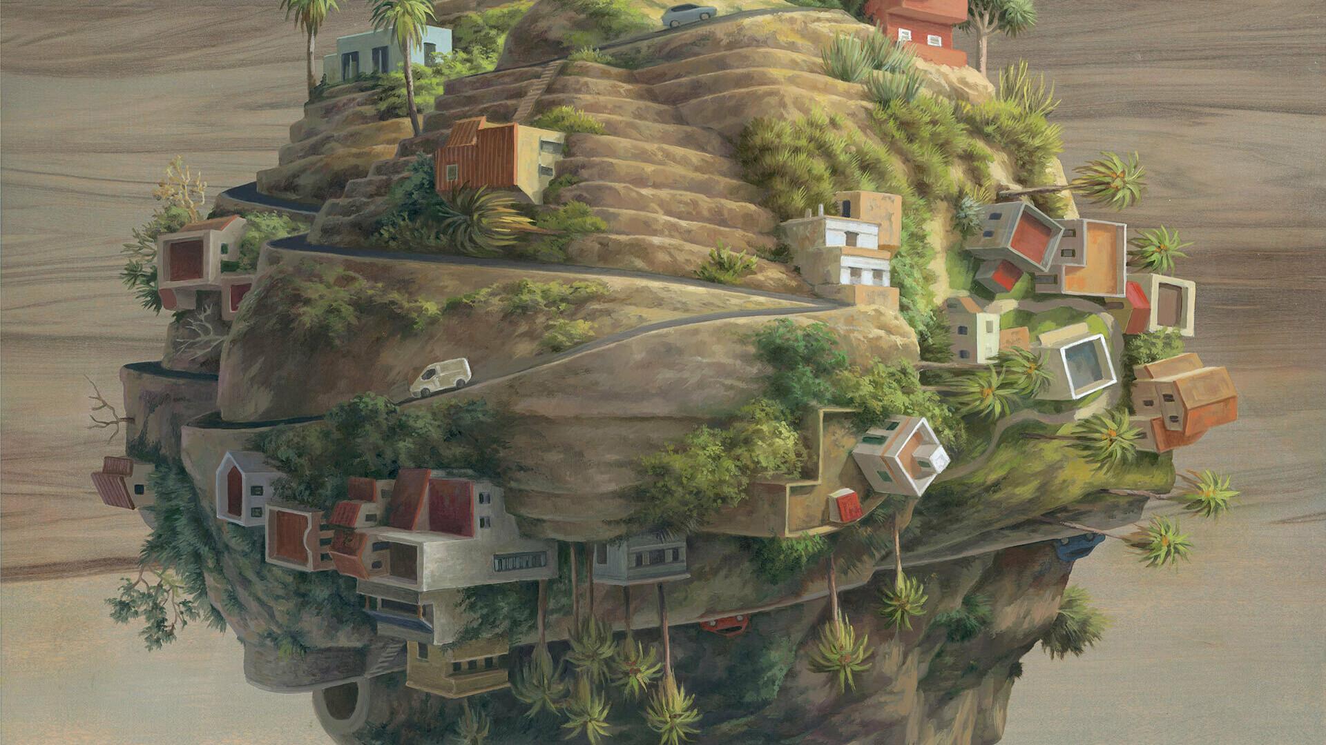 LA GOMERA 50x50cm Oilonwoodpanel View Points Thinkspace Gallery sept2018