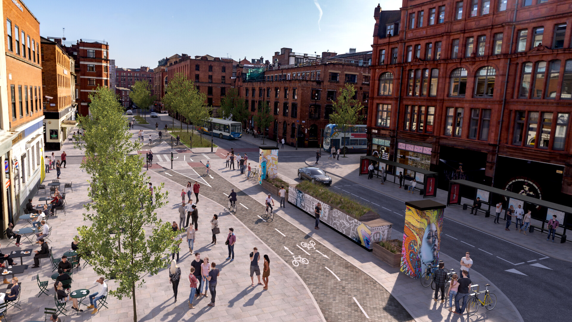 Visualisation of Stevenson Square in Manchesters Northern Quarter