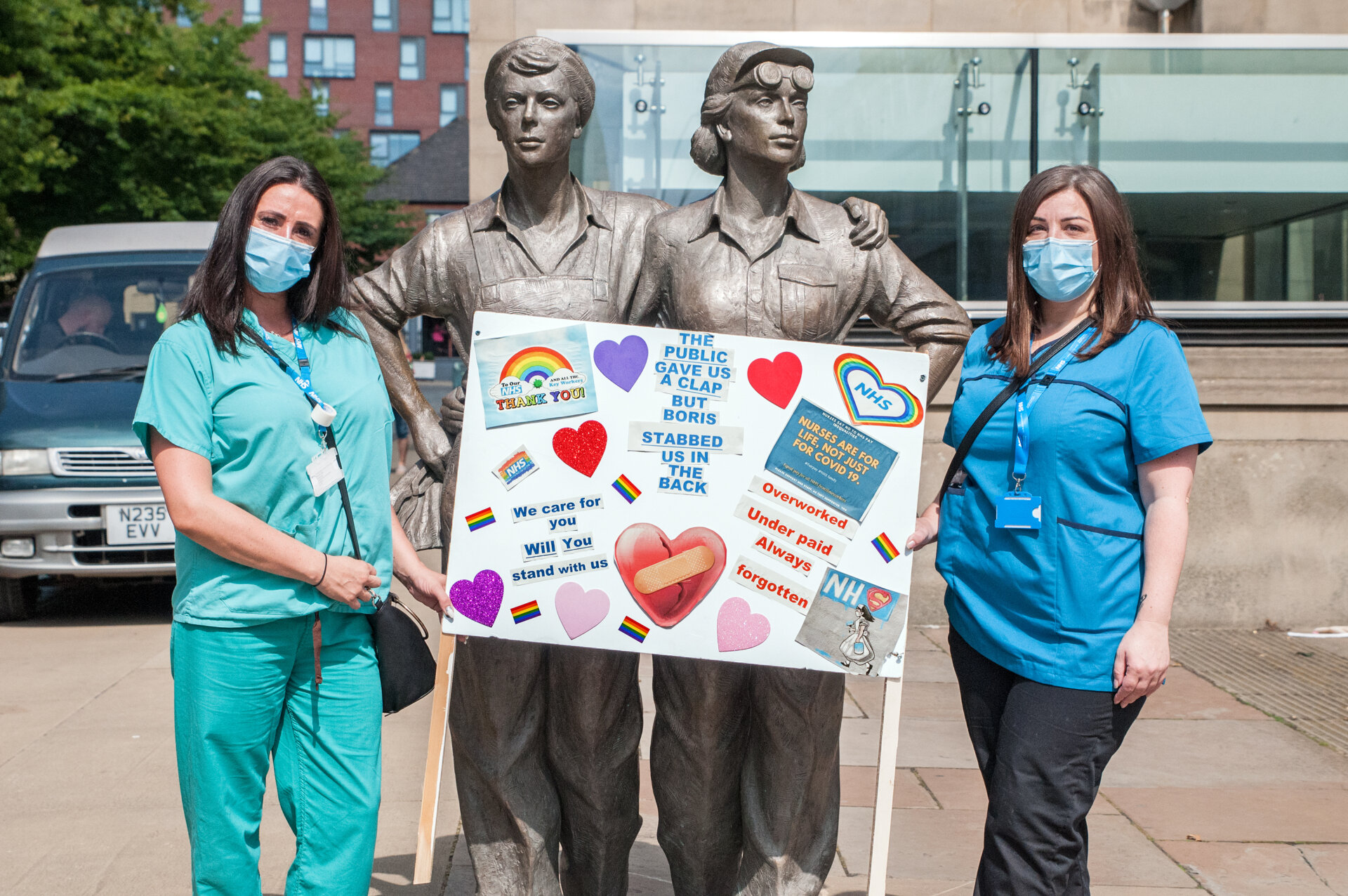 A socially distanced protest asking for NHS nurses to get a 15 pay rise