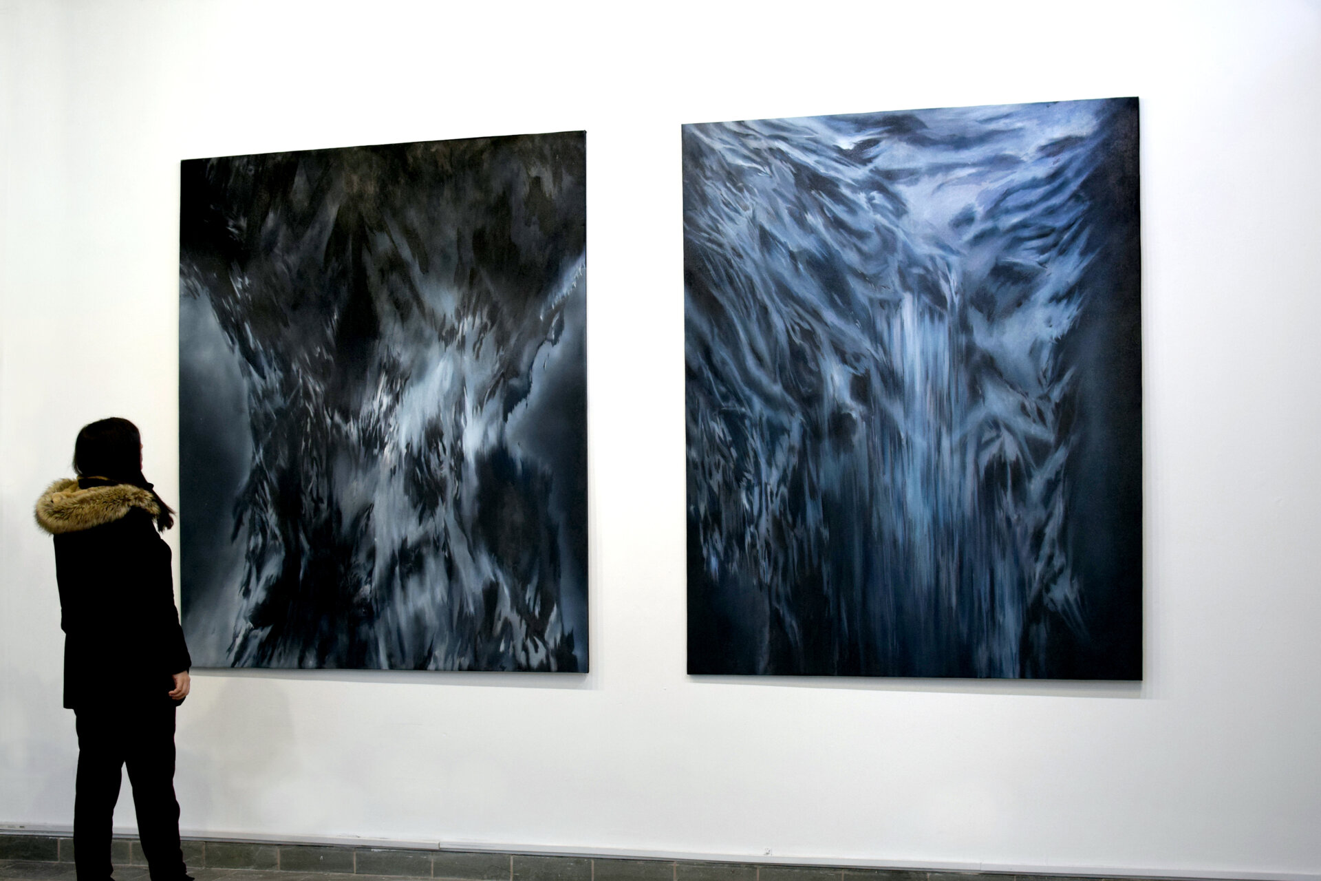 Arantza with paintings The Unknown No 8 and No 9 Persistence Works Sheffield 2019