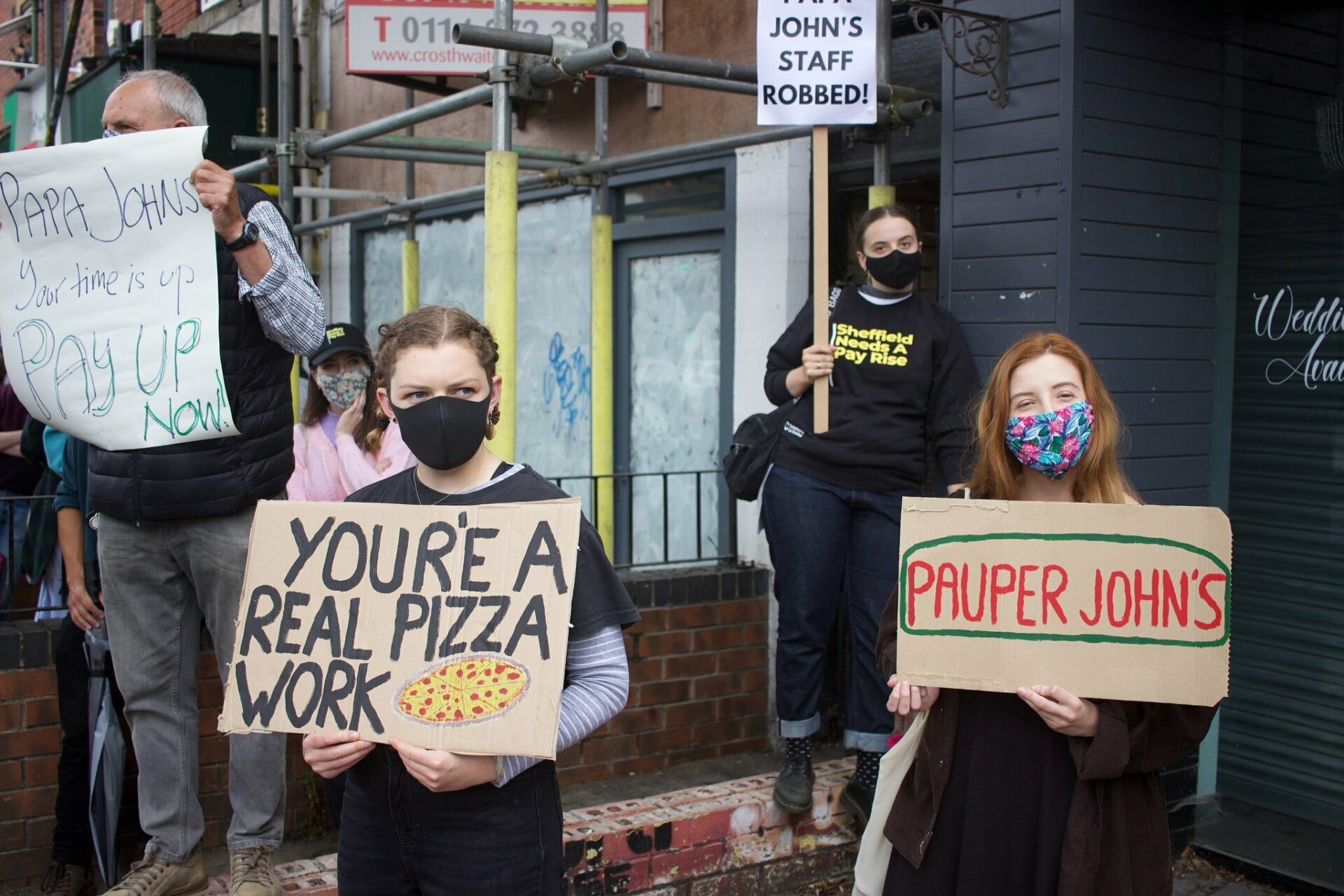 SNAP Sheffield Needs A Pay Rise papa johns protest action