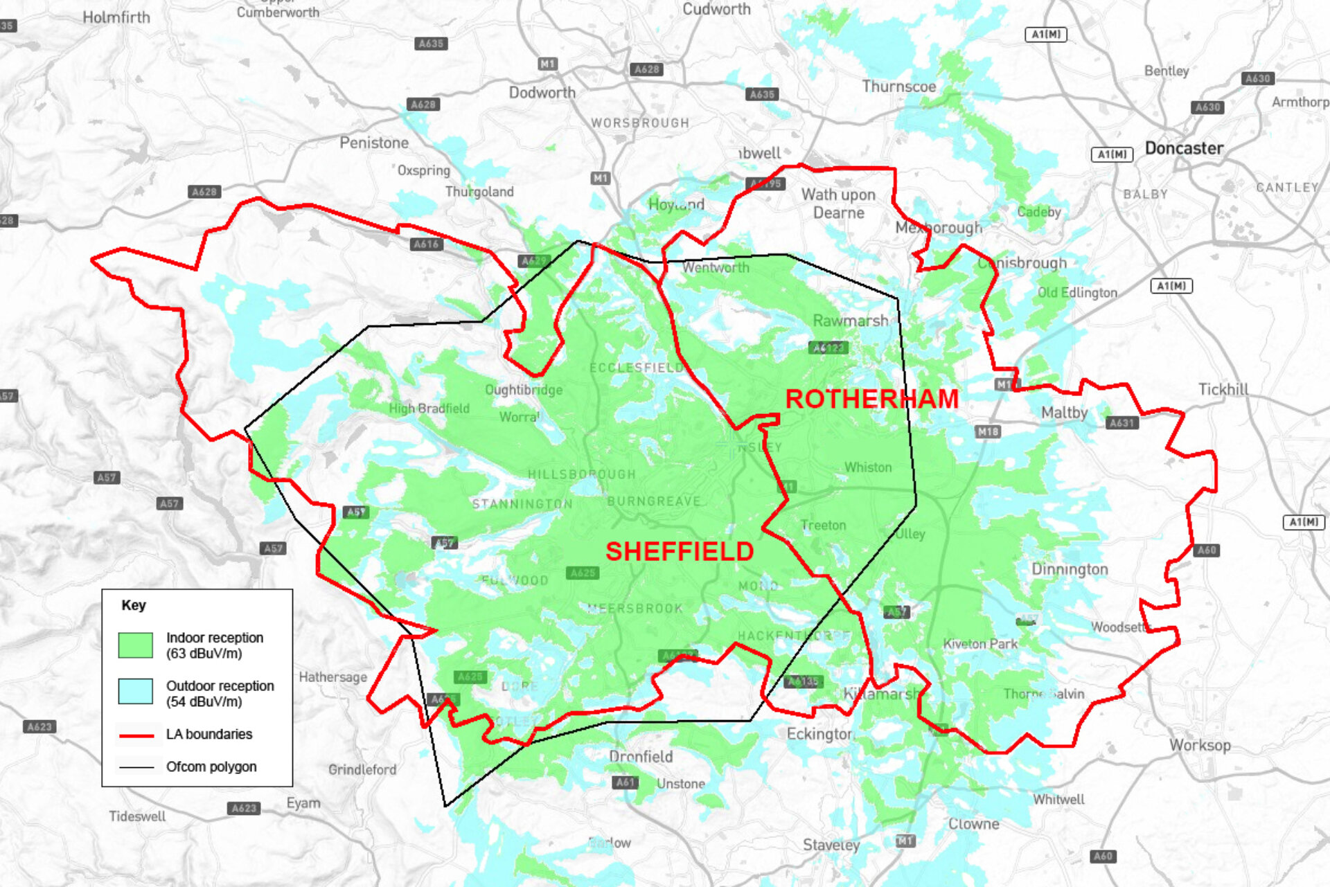 Shefcast Digital coverage plan for Sheffield and Rotherham