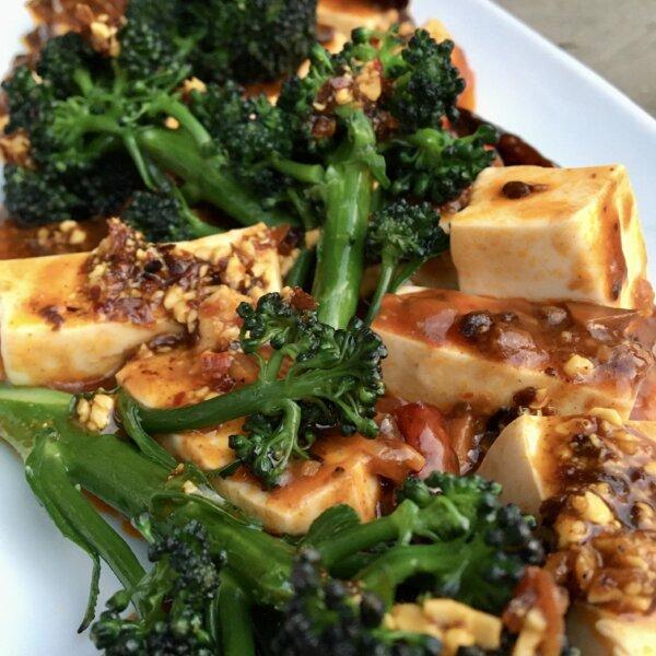 Dishidrop's Mapo Tofu with Purple Sprouting Broccoli
