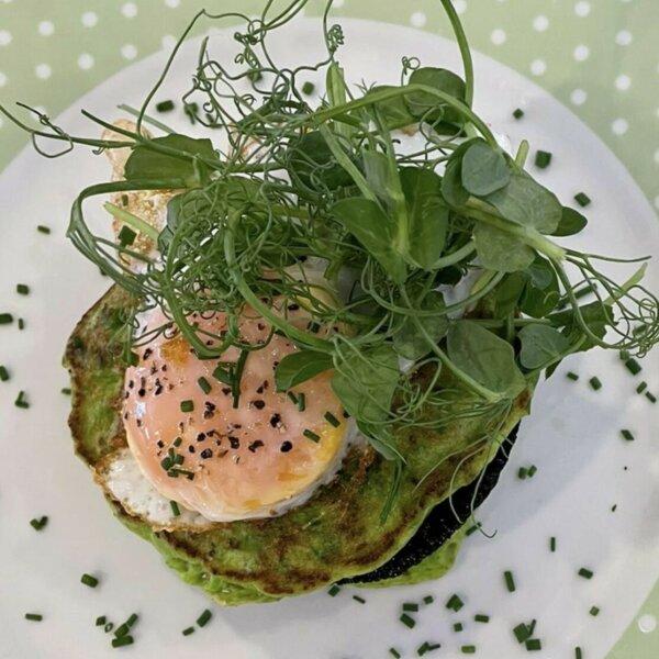 John St. Kitchen's pea pancakes with a 'dukkah' egg