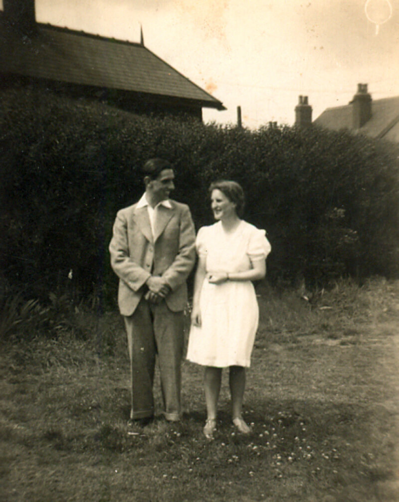 Eric Joyce Baker at their wedding Woodhouse Quaker Meeting House 1942