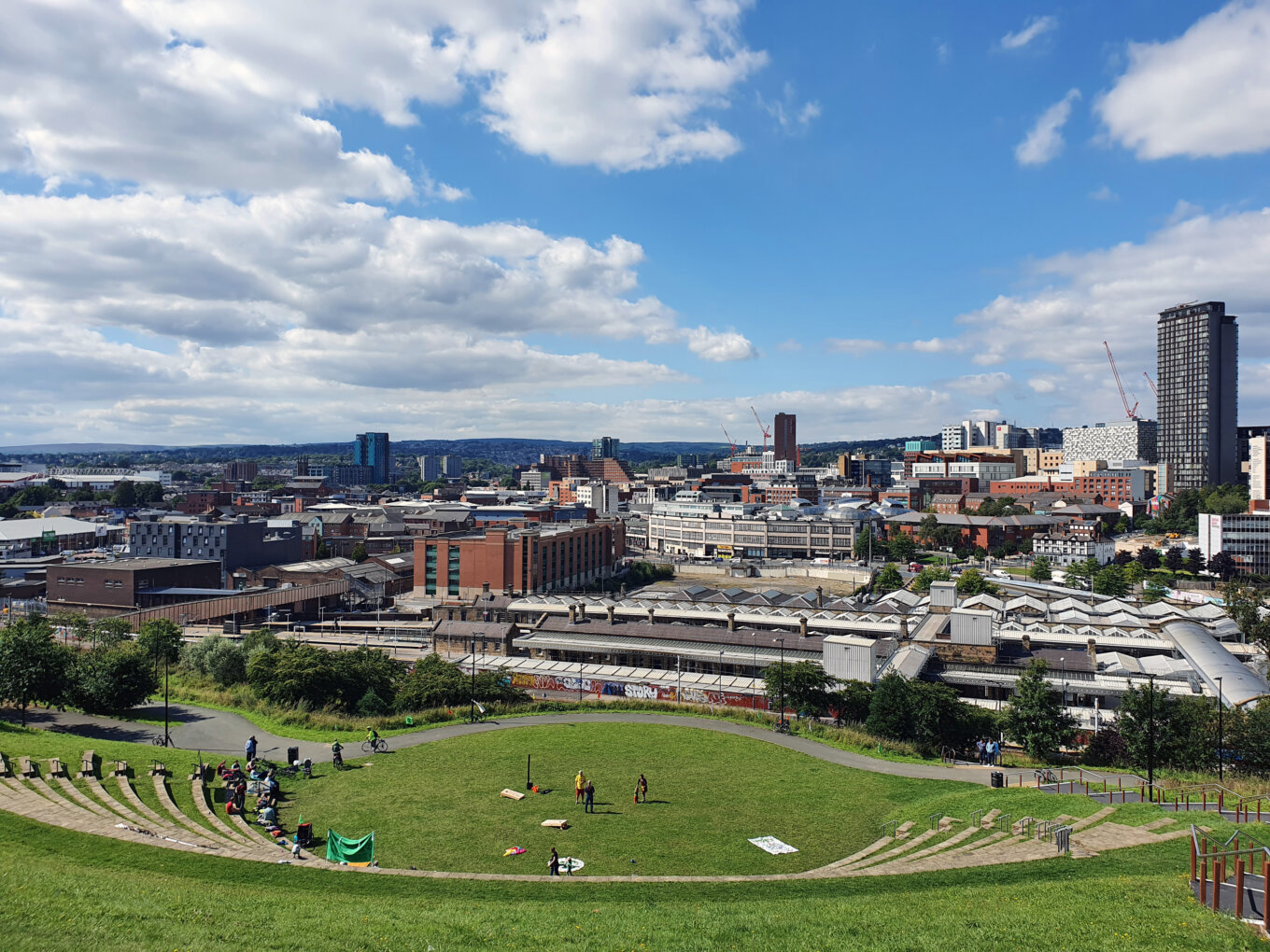 Sheffield city centre from above South Street amphitheatre - no credit needed